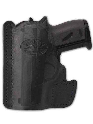 Barsony Black Leather Gun Concealment Pocket Holster for Taurus TCP 738 .380
