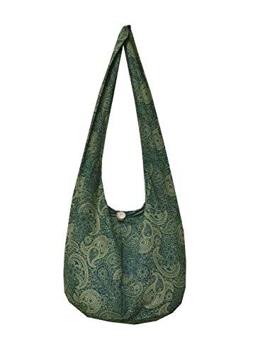 BTP! Thai Cotton Hippie Hobo Sling Crossbody Bag Messenger Purse Paisley Print Large (Green PL23)