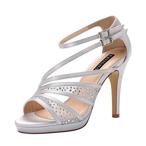 ERIJUNOR E2333A Women Comfortable Platform Rhinestones Lace Mesh Satin Prom Wedding Shoes Sandals Dance for Brides Bridesmaid Silver Size 8 (Gray Rhinestone)