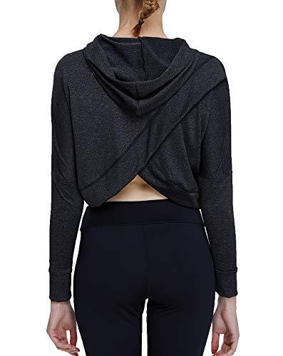 Crop Dance Top (Helisopus Women's Sports Fitness Workout Long Sleeve Crop Top Shirt Hoodie Drawstring Loose Pullover Sweatshirt)