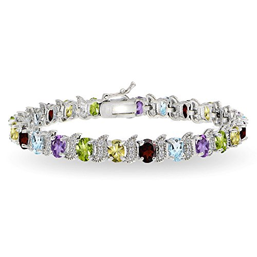 (Sterling Silver Multi Gemstone 6x4mm Oval and S Tennis Bracelet with White Topaz Accents)