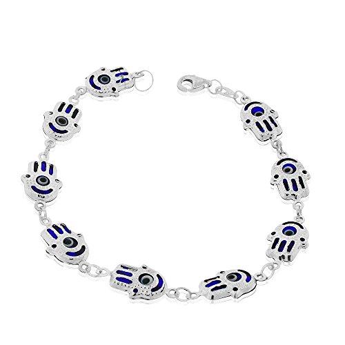 925 Sterling Silver Blue Hamsa