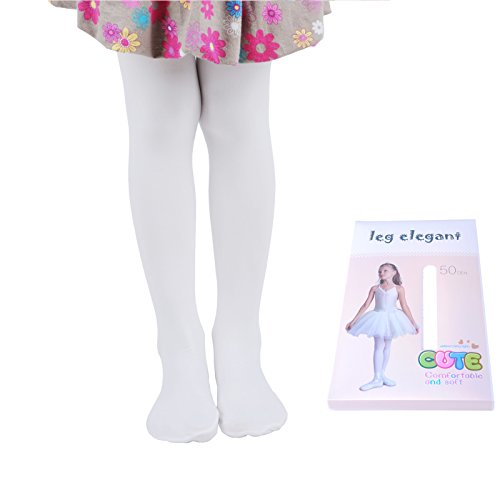 Innabella Girls Microfiber Soft Opaque Solid Colored Footed Tights (8-10, White)