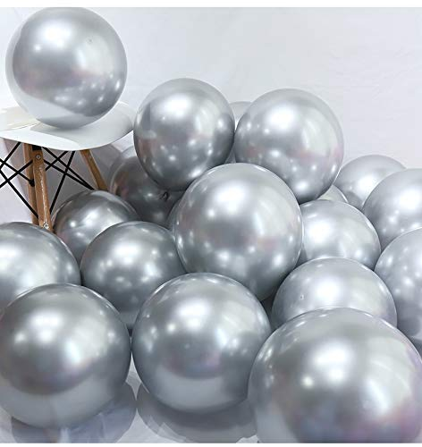 DIvine 40 Pcs 12 Inch Metallic Chrome Silver Balloons for Wedding Birthday Party Decoration Baby Shower Graduation