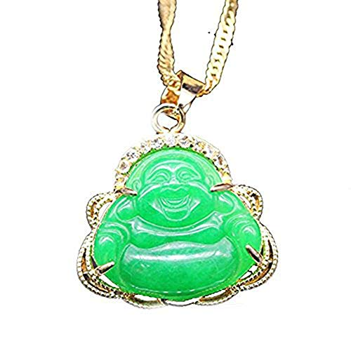 CRISTORE Luck Happy Green Jade Buddha Pendant AAA CZ Laughing Buddha Statue Necklace Pendant (18K Gold Plated)