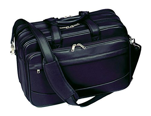 Winn International Harness Cowhide Leather Deluxe Computer Briefcase in Black (Rolling Brief Computer Deluxe)