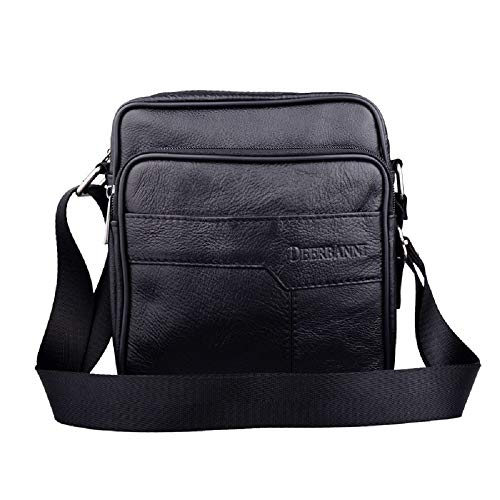 Satchels Leisure School Men And Laptop Women Black Leather Youth Bag Hhgold Work Shoulder Black color Bags For 4wx8tp5q