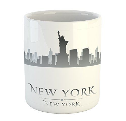 Ambesonne American Mug by, New York City Silhouette with Statue of Liberty Famous Town USA Monument Image, Printed Ceramic Coffee Mug Water Tea Drinks Cup, Grey ()