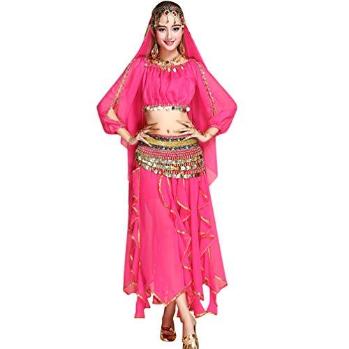 TianBin Danse du Ventre Jupe de Mousseline de Soie pour Femme Longue Maxi Jupes de Ensemble Couleur Unie Rose#2