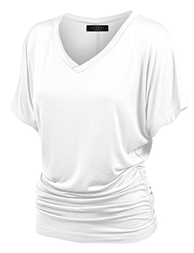 MBJ WT1037 V Neck Short Sleeve Dolman Top with Side Shirring L WHITE