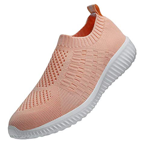 konhill Women's Casual Walking Shoes - Breathable Mesh Work Slip-on Sneakers 13 US Shell Pink,45