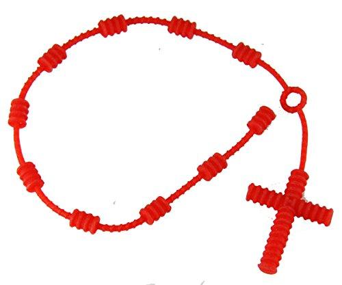 4031616 Set of 2 Pieces Red Rubber Decenario Pulseras Knotted Cross Bracelet Hip Hop Kanye Rosary (Red Hip Hop Bracelet)