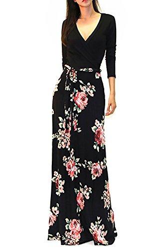 Womens Evening Wear (SUNNOW Womens Sexy Ladies Deep V Neck Party Dress Maxi Long Evening Dress (XL, Black2))