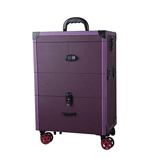 ネイル化粧トロリーケース、大容量化粧箱ケース荷物ローリング、多層美容院タトゥートロリースーツケース,Purple B07QSSHQWZ Purple