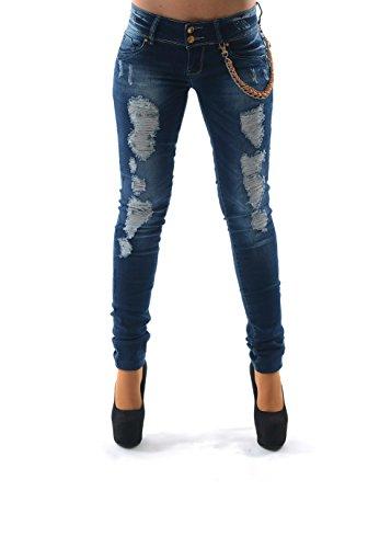 Damen Stretsch Jeans Hose blau Röhre Skinny Destroyed Crashed Risse