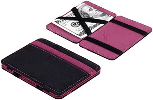 Wallet,toraway Unisex Mini Neutral Grind Magic Bifold Leather Wallet Card Holder Wallet Purse with Money Clip