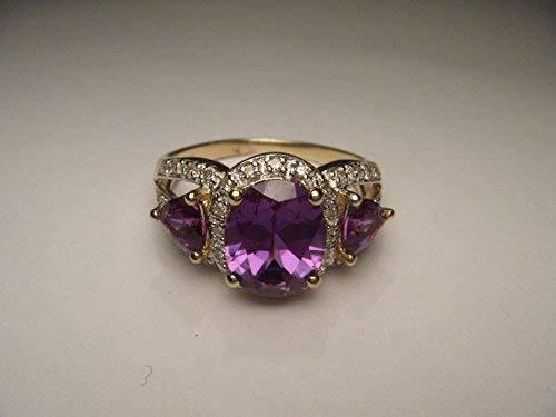 Gorgeous Estate 14K Gold Diamond Mystic Topaz Tri-Stone Band Ring