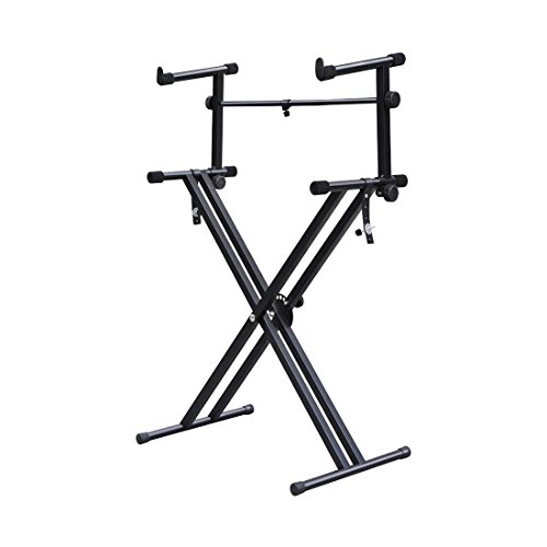 Stand Electronic Piano Double - SODIAL(R) Quality Heavy-Duty X Style Dual Keyboard Stand Electronic Piano Double 2-tier Adjustable by SODIAL(R)