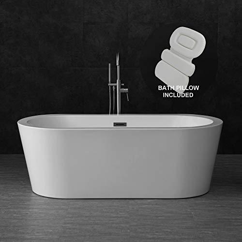 Woodbridge B-0002 67' Acrylic Freestanding Bathtub Contemporary Soaking Tub with Brushed Nickel Overflow and Drain BTA1504-B,with Spa Bath Pillow