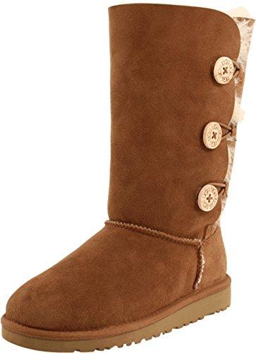 UGG Bailey Button Triplet Boot (Size 1M Kids/ Chestnut)