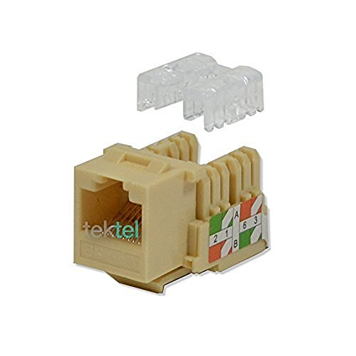 25 pack lot Keystone Jack Cat5e Ivory Network Ethernet 110 Punchdown 8P8C ()