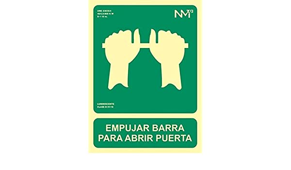 Cartel PVC Empujar barra para abrir puerta 224x300 clase B ...