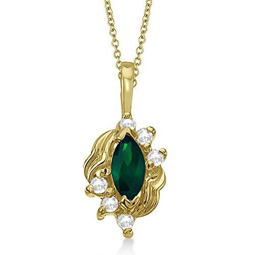 Marquise Emerald and Diamond Pendant in 14K Yellow Gold (0.34ct) (0.34 Diamond Emerald Ct Cut)