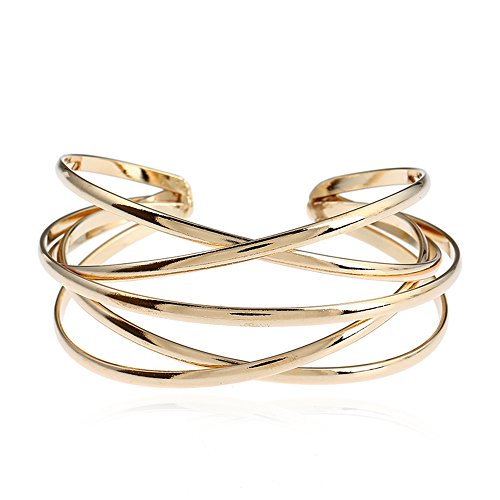 Dwcly Multi-Layer Cross Wire Bangle Hollow Out Retro Ethnic Puck Adjustable Open Charm Bracelet (Gold) (Cuff Wire)