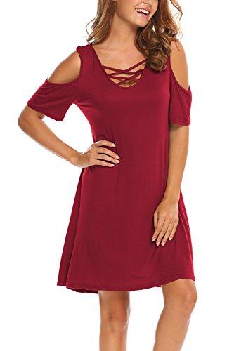 BLUETIME Women Cold Shoulder Criss Cross Neckline Short Sleeve Casual Tunic Top Dress (XXXL, Red)