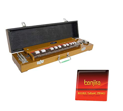 "Harp Dulcimer Package Includes: Banjira 23"" Bulbul Tarang Indian Keyboard Zither Harp Dulcimer + Bulbul Tarang, 10 Steel Strings Full Replacement Set"