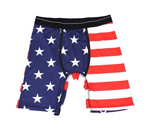 PSD Men's Focus Fit Fun Prints Contoured Performance Microfiber Boxer Brief Underwear (American Flag, X-Large)