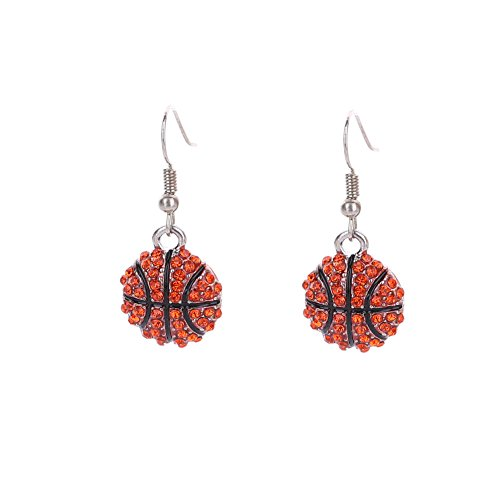 Lureme Fashion Crystal Rhinestone Fish Hook Dangle Basketball Earrings (er005452-1) (Basket Ball Ring)