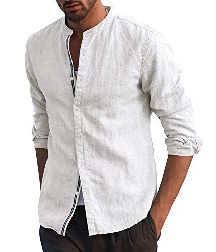 Fueri Mens Long Sleeve Shirt Cotton Linen Shirt Grandad Button Down Casual Henley Shirts Slim Fit Lightweight Summer…
