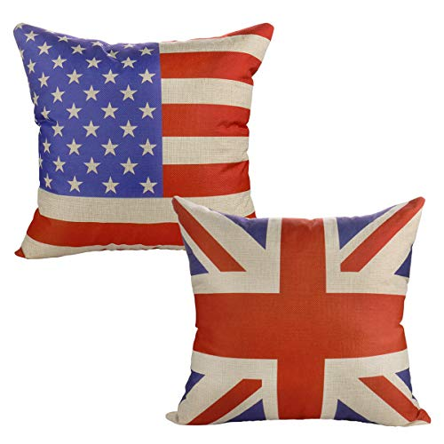 (Luxbon Set of 2Pcs Union Jack Flag & American Flag Cotton Linen Sofa Couch Chair Throw Pillow Cases Decorative Cushion Covers Flag Lover Gift)