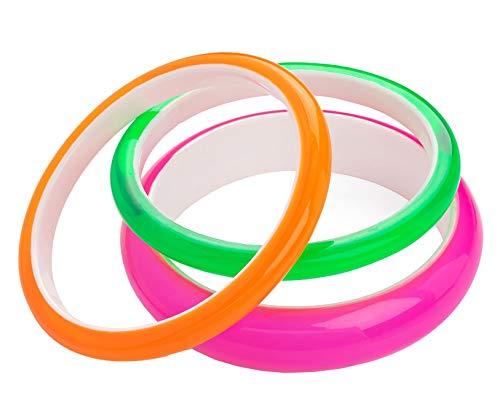 (CHOCOLATE PICKLE 3pc Neon Colour Three Piece 10mm & 18mm Candy Bracelet Plastic Bangle Accessory Set BA32548 Neon Green Orange Pink)