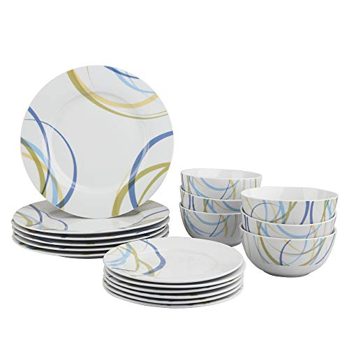 AmazonBasics 18-Piece Kitchen Dinnerware Set, Plates, Dishes, Bowls, Service for 6, Cool Ribbons