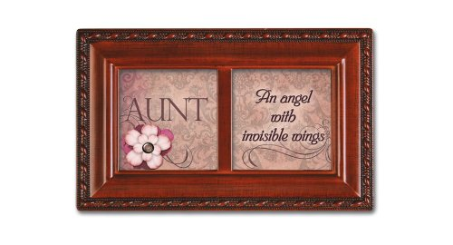 Cottage Garden Aunt Angel with Invisible Wings Woodgrain Petite Music Box Plays How Great Thou Art