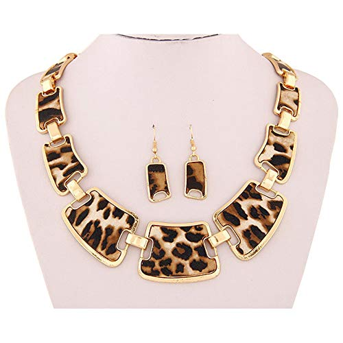 2019 Fashion New Gold Tone Style Leopard Grain Necklace Collar Bib +Earrings Jewelry Set for Women Girl Jewelry Gift (Brown 3) from sameno