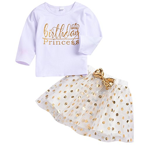 (Toddler Kids Baby Girls Outfits Brithday Princess T-Shirt Long Sleeve Top +Dot Bubble Skirt Summer Clothes Set (White # 1, 3)