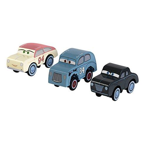 "(Disney KIDKRAFT Pixar Cars 3 Legends 3pk Wooden Cars with River Scott, Louise ""Barnstormer"" Nash, Tucker Moon)"