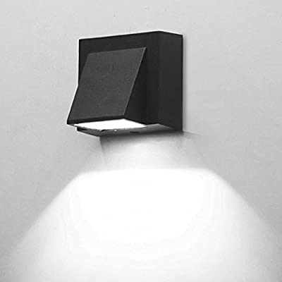 BRILLRAYDO 3W LED Outdoor Exterior Wall Step Down Light Fixture Lamp Black Finish Cool White