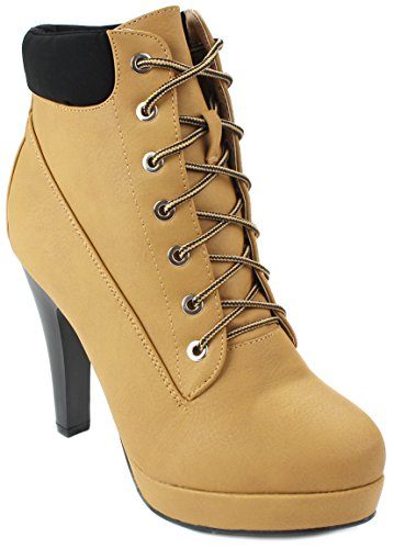 Women's Round Toe Platform High Heels Fashion Ankle Boots Yellow - 9