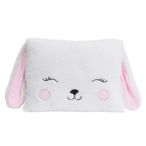 Little Love by NoJo Bunny Shaped Pillow, White, Pink -