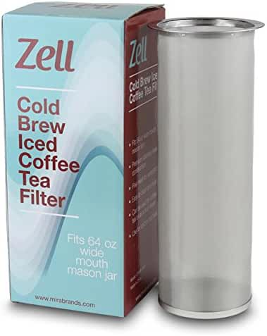 Zell Cold Brew Coffee, Iced Coffee and Iced Tea Maker Infuser | Durable Fine Mesh Stainless Steel Coffee Maker Filter | 64 Oz (2 Quart)