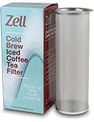 Cold Brew Coffee Maker, Iced Coffee & Tea Maker Infuser for Mason Jars   Durable Fine Mesh Stainless Steel Coffee Maker Filter   64 Oz (2 Quart)