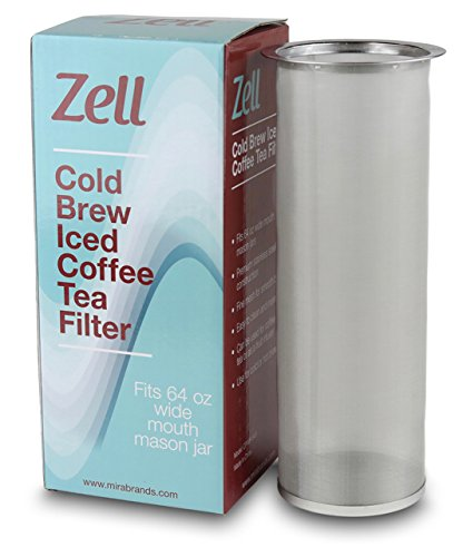 (Cold Brew Coffee Maker, Iced Coffee & Tea Maker Infuser for Mason Jars | Durable Fine Mesh Stainless Steel Coffee Maker Filter (Stainless Steel - Straight, Fits 64 oz Wide Mouth Mason Jars))