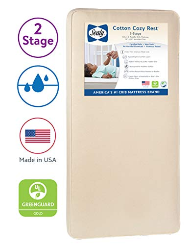Sealy Baby Cotton Cozy Rest 2 Stage Dual Firmness Waterproof Standard Toddler Baby Crib Mattress 204 Premium Coils 51 7 X 27 3