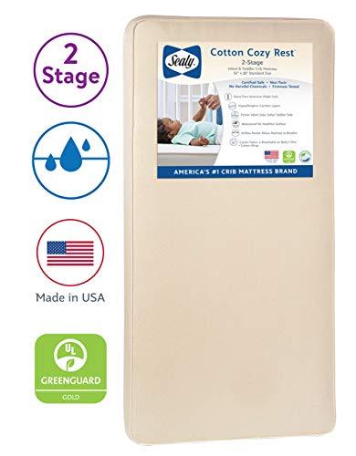 "Sealy Baby Cotton Cozy Rest 2-Stage Dual Firmness Waterproof Standard Toddler & Baby Crib Mattress - 204 Premium Coils, 51.7"" x 27.3"""