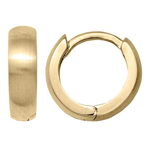 Tiny 14k Yellow Gold High Polished & Satin Brushed Reversible Huggie Hoop Earrings, All Sizes (10.8mm - Tiny) ()