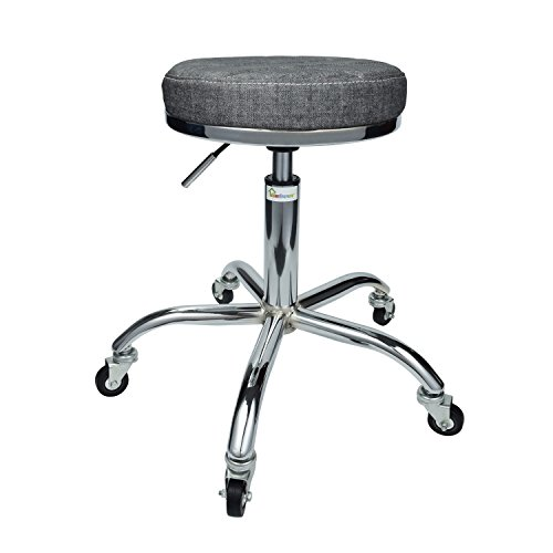 Geboor Hydraulic Massage Swivel Stool Stainless Steel Office Pneumatic Stool Adjustable Height 19 to 24 inch for Salon Spa Office Shop Black